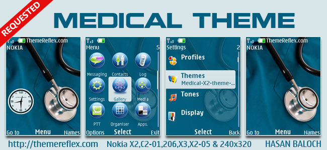 Medical Theme for Nokia X2-00, X2-02, X2-05, X3-00, C2-01, 2700, 206, 208, 301 & 240×320 Devices