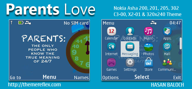 PARENTS LOVE Theme for Nokia C3-00, X2-01, Asha 200, 201, 205, 210, 302 & 320×240 Devices