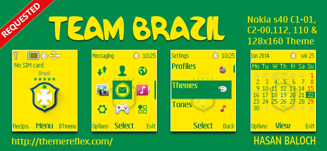Team Brazil Theme for Nokia C1-01, C1-02, C2-00, 107, 108, 109, 110, 111, 112, 113, 114, 2690 & 128×160 Devices