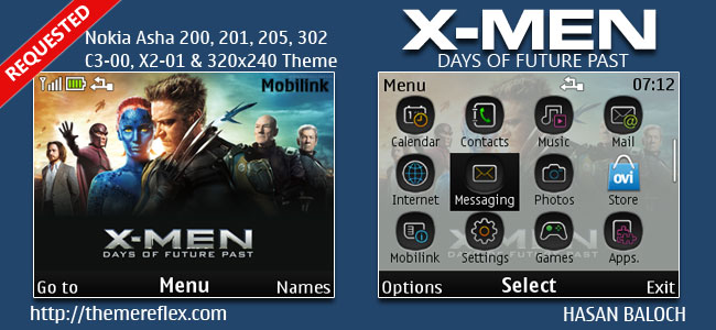X-MEN Days of Future Back Theme for Nokia C3-00, X2-01, Asha 200, 201, 205, 210, 302 & 320×240 Devices