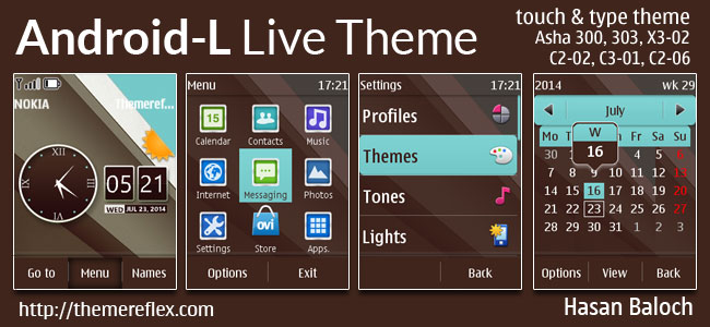 Android-L Live Theme for Nokia Asha 202/300/303, X3-02, C2-02, C2-03, C2-06, C3-01 and Touch & Type Devices