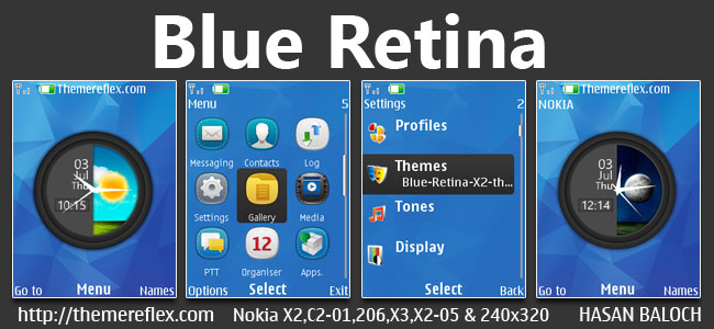 Blue Retina Live Theme for Nokia X2-00, X2-02, X2-05, X3-00, C2-01, 206, 208, 301, 2700 & 240×320 Devices