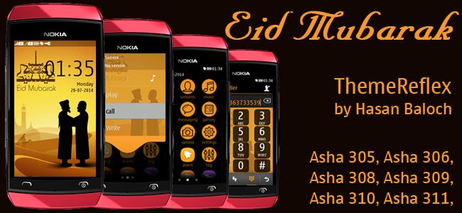 Eid Mubarak Theme for Nokia Asha 305, Asha 306, Asha 308, Asha 309, Asha 310, Asha 311 devices