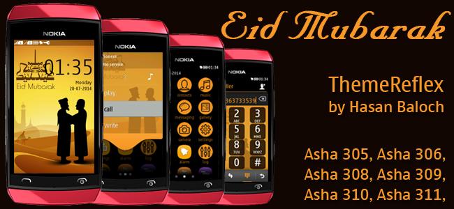 Eid Mubarak Theme for Nokia Asha 305, Asha 306, Asha 308, Asha 309, Asha 310, Asha 311 devices
