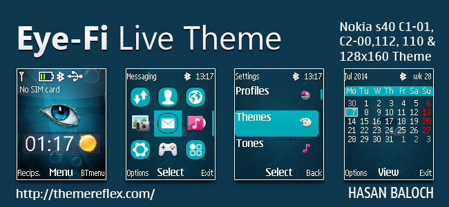 Eye-Fi Live Theme for Nokia C1-01, C1-02, C2-00, 107, 108, 109, 110, 111, 112, 113, 114, 2690 & 128×160 Devices