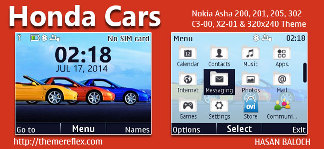 Honda Cars Theme for Nokia C3-00, X2-01, Asha 200, 201, 205, 210, 302 & 320×240 Devices