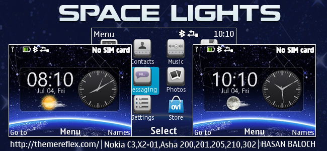 Space Lights Live Theme for Nokia C3-00, X2-01, Asha 200, 201, 205, 210, 302 & 320×240 Devices