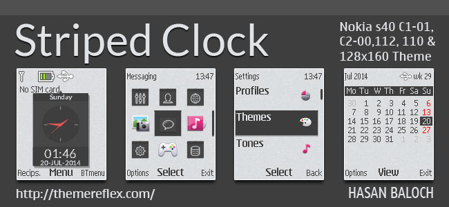 Striped Clock Theme for Nokia C1-01, C1-02, C2-00, 2690, 107, 108, 109, 110, 111, 112, 113, 114 & 128×160 Devices