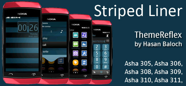Striped Liner Theme for Nokia Asha 305, Asha 306, Asha 308, Asha 308, Asha 309, Asha 310, Asha 311 full touch devices