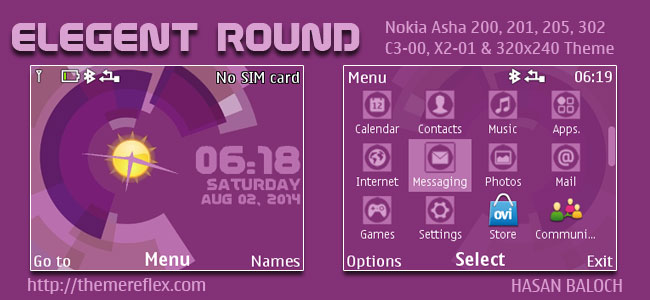 Elegant Round Live Theme for Nokia C3-00, X2-01, Asha 200, 201, 205, 210, 302 & 320×240 Devices