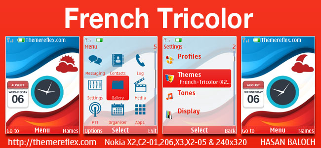 French Tricolor Live Theme for Nokia X2-00, X2-02, X2-05, X3-00, C2-01, 206, 208, 301, 2700 & 240×320 Devices