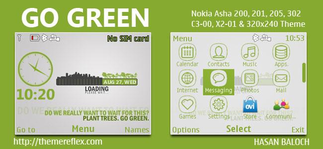 GO GREEN Theme for Nokia C3-00, X2-01, Asha 200, 201, 205, 210, 320 & 320×240 Devices