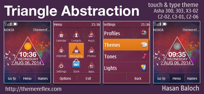 Triangle Abstraction Live theme for Nokia Asha 202, Asha 203, Asha 300, Asha 303, X3-02, C2-02, C2-03, C2-06, C3-01, touch & type devices