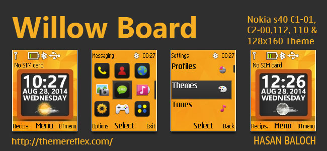 Willow Board Live Theme for Nokia C1-01, C1-02, C2-00, 107, 108, 109, 110, 111, 112, 113, 114, 2690 & 128×160 Devices
