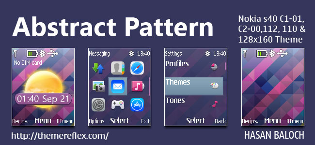 Abstract Pattern Live Theme for Nokia C1-01, C1-02, C2-00, 107, 108, 109, 110, 111, 112, 113, 114, 2690 & 128×160 Devices