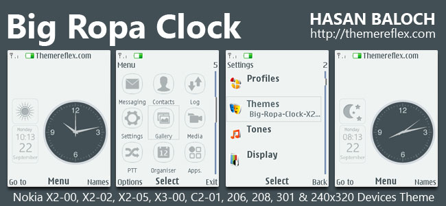 Big Ropa Clock Live Theme for Nokia X2-00, X2-02, X2-05, X3-00, C2-01, 206, 208, 301, 2700 & 240×320 Devices.