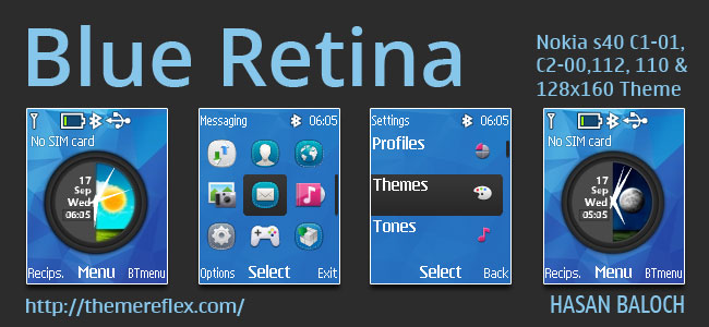 Blue Retina Live Theme for Nokia C1-01, C1-02, C2-00, 107, 108, 109, 110, 111, 112, 113, 114 & 128×160 Devices