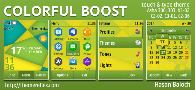 Colorful Boost Live Theme for Nokia Asha 202, Asha 203, Asha 300, Asha 303, X3-02, C2-02, C2-03, C2-06, C3-01, touch & type devices