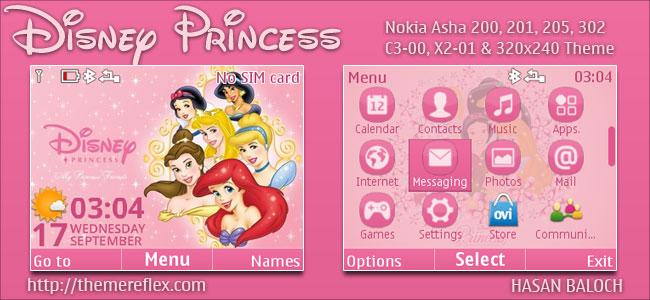 Disney Princess Live Theme for Nokia C3-00, X2-01, Asha 200, 201, 205, 210, 302 & 320×240 Devices