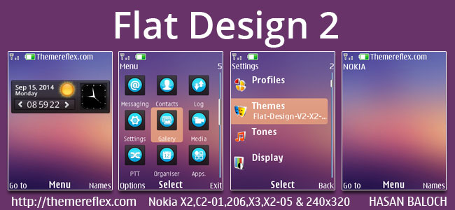 Flat Design 2 Live Theme for Nokia X2-00, X2-02, X2-05, X3-00, C2-01, 206, 208, 301, 2700, 6303i & 240×320 Devices