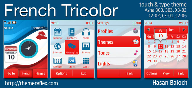 French Tricolor Live Theme for Nokia Asha 202/300/303, X3-02, C2-02, C2-03, C2-06, C3-01 and touch & type devices