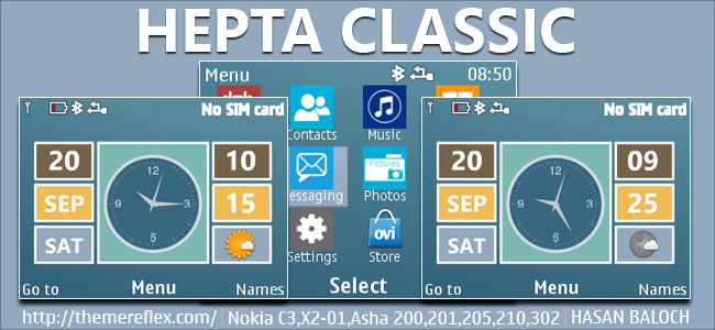 Hepta Classic Live Theme for Nokia C3-00, X2-01, Asha 200, 201, 205, 210, 302 & 320×240 Devices