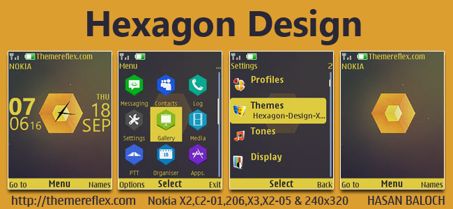 Hexagon Design Live Theme for Nokia X2-00, X2-02, X2-05, X3-00, C2-01, 2700, 206, 208, 301 & 240×320 Devices
