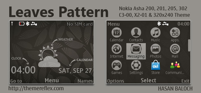 Leaves Pattern Live Theme for Nokia C3-00, X2-01, Asha 200, 201, 205, 210, 302 & 320×240 Devices
