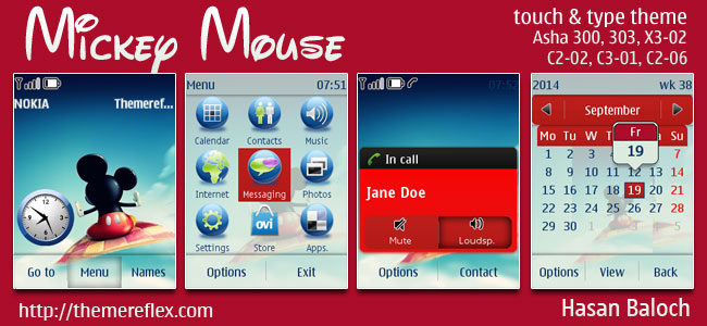 Mickey Mouse Theme for Nokia Asha 202/203/300/303, X3-02, C2-02, C2-03, C2-06, C3-01 Touch & Type Devices