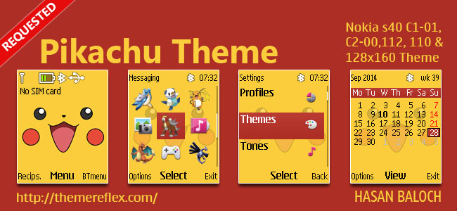 Pikachu Theme for Nokia C1-01, C1-02, C2-00, 107, 108, 109, 110, 111, 112, 113, 114, 2690 & 128×160 Devices