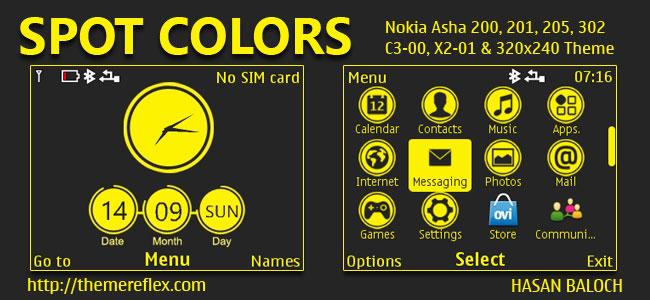 Spot Colors Theme for Nokia C3-00, X2-01, Asha 200, 201, 205, 210, 302 & 320×240 Devices