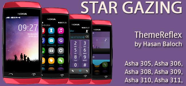 Star Gazing Theme for Nokia Asha 305, Asha 306, Asha 308, Asha 309, Asha 310, Asha 311 and full touch devices