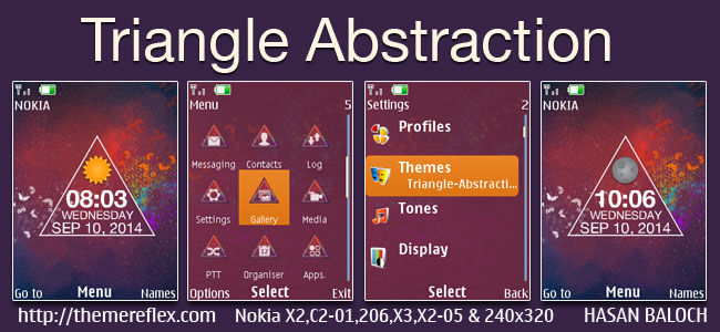 Triangle Abstraction Live Theme for Nokia X2-00, X2-02, X2-05, X3-00, C2-01, 206, 208, 301, 2700, 6303i & 240×320 Devices