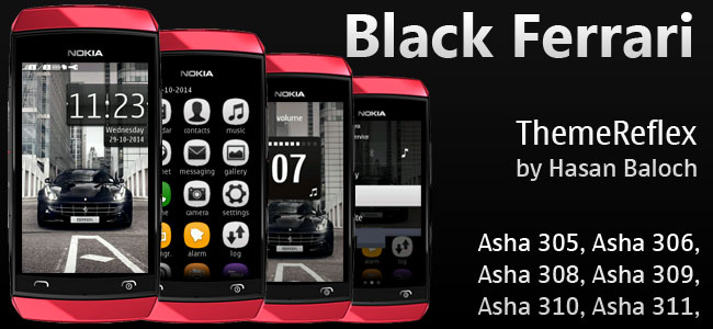 Black Ferrari Theme for Nokia Asha 305, Asha 306, Asha 308, Asha 309, Asha 310, Asha 311 and Full Touch Devices