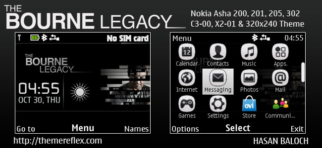 The Bourne Legacy Live Theme for Nokia C3-00, X2-01, Asha 200, 201, 205, 210, 302 & 320×240 Devices