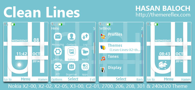 Clean Lines Theme for Nokia X2-00, X2-02, X2-05, X3-00, C2-01, 206, 208, 301, 2700 & 240×320 Devices