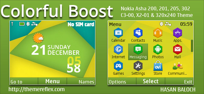 Colorful Boost Live Theme for Nokia C3-00, X2-01, Asha 200, 201, 205, 210, 302 & 320×240 Devices