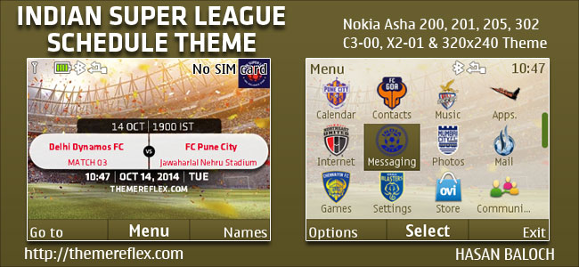 Indian Super League Schedule Theme for Nokia C3 00, X2 01, Asha 200