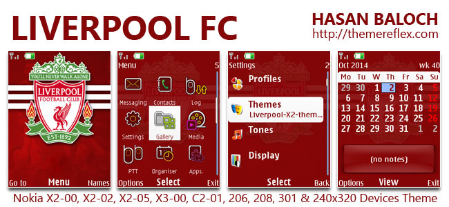 Liverpool FC Theme for Nokia X2-00, X2-02, X2-05, X3-00, C2-01, 206, 208, 301, 2700 & 240×320 Devices
