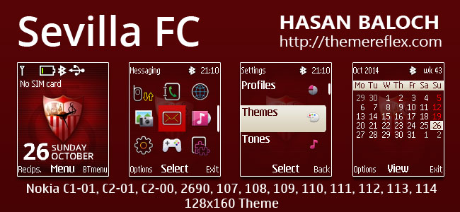 Sevilla FC Theme for Nokia C1-01, C1-02, C2-00, 107, 108, 109, 110, 111, 112, 113, 114 & 128×160 Devices