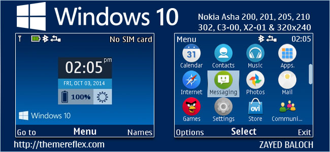 Windows 10 Live Theme for Nokia C3-00, X2-01, Asha 200, 201, 205, 210, 302 & 320×240 Devices