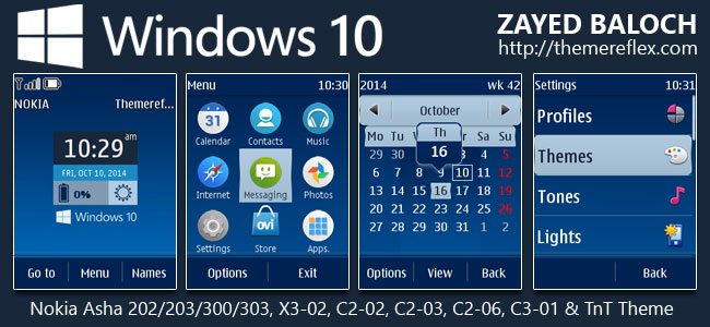 Windows 10 Live Theme for Nokia Asha 202/203/300/303, X3-02, C2-02, C2-03, C2-06, C3-01 and Touch & Type Devices