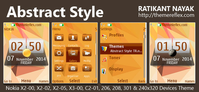 Abstract Style Theme for Nokia X2-00, X2-02, X2-05, X3-00, C2-01, 206, 208, 301, 2700 &