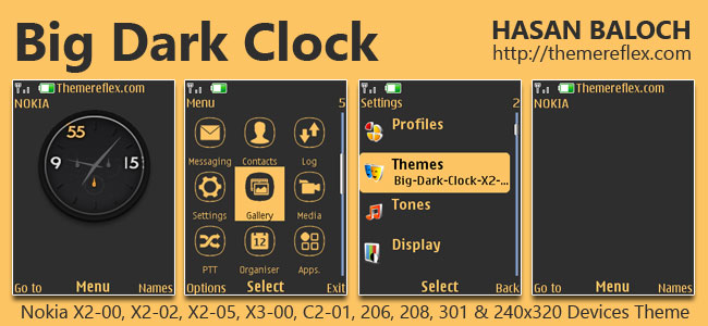Big Dark Clock Theme for Nokia X2-00, X2-02, X2-05, X3-00, C2-01, 2700, 206, 208, 301 & 240×320