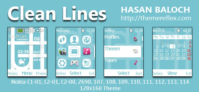 Clean Lines Theme for Nokia C1-01, C1-02, C2-00, 107, 108, 109, 110, 111, 112, 113, 114, 2690 & 128×160