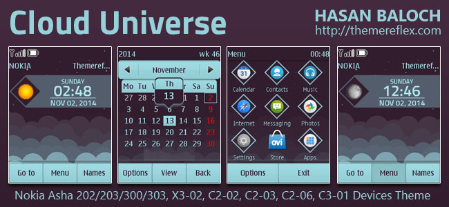 Cloud Universe Live Theme for Nokia Asha 202/203/300/303, X3-02, C2-02, C2-03, C2-06, C3-01 and Touch & Type