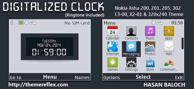 Digitalized Clock Theme for Nokia C3-00, X2-01, Asha 200, 201, 205, 210, 302 & 320×240