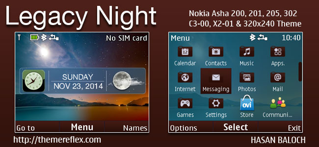 Legacy Night Live Theme for Nokia C3-00, X2-01, Asha 200, 201, 205, 210, 302 & 320×240 Devices
