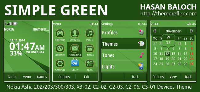 Simple Green Theme for Nokia Asha 202/203/300/303, X3-02, C2-02, C2-03 and Touch & Type