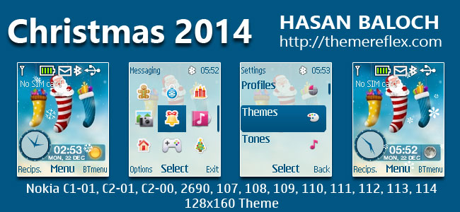 Christmas 2014 Theme for Nokia C1-01, C1-02, C2-00, 107, 108, 109, 110, 111, 112, 113, 114, 2690 & 128×160 Devices